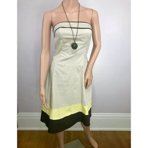 ALYN PAIGE Tan Brown Strapless A-Line Dress
